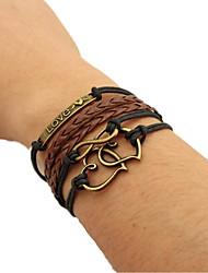 Bracelet Leather Bracelet Wrap Bracelet Alloy Fashion Gift Sports Valentine Jewelry Gift Brown,1pc