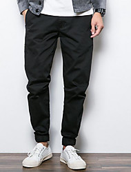 Men's Loose Chinos Pants,Casual/Daily Simple Solid Mid Rise Zipper Cotton Acrylic Micro-elastic All Seasons