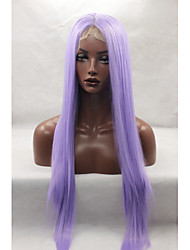 Halloween Fashion Long Purple Wig Straight Hair Heat Resistant Syntehtic Wigs for Cosplay Glueless Lace Front Wig Free Shipping