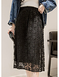 Women's Swing Solid Pleated Skirts,Casual/Daily Simple Mid Rise Midi Elasticity Wool Micro-elastic Fall Winter