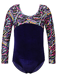 Ballet Leotards Children's Performance Polyester Velvet Pattern/Print 1 Piece Long Sleeve Leotard