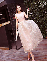 Women's Beach Boho Swing Dress,Floral Round Neck Maxi Sleeveless Pink Polyester / Others Summer High Rise
