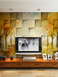 JAMMORY Art DecoWallpaper For Home Wall Covering Canvas Adhesive required Mural 3D Brick Forest XL XXL XXXL