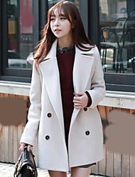 Mulheres Casaco Outono,Sólido Azul / Branco / Preto / Laranja Outros Colarinho Chinês-Manga Longa Média