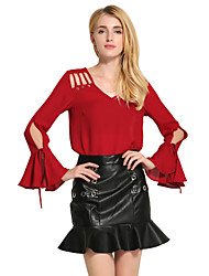 Women's Flare Sleeve Casual/Daily Sexy Cute Spring Fall Blouse,Solid V Neck Long Sleeve Red White Black Cotton Polyester Medium