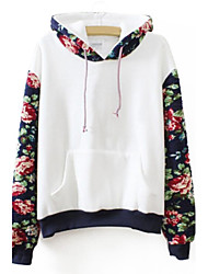 Women's Casual/Daily Hoodie Print Color Block Fleece Lining Micro-elastic Cotton Long Sleeve Fall Winter