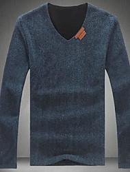 Herren Solide Einfach Lässig/Alltäglich T-shirt,V-Ausschnitt Frühling Herbst Langarm Blau Schwarz Grau Kunst-Pelz