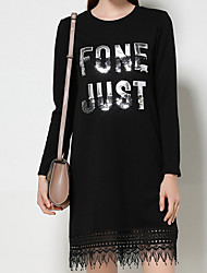Women's Plus Size Going out Casual/Daily Sexy Simple T Shirt Dress,Embroidered Letter Lace Sequins Tassel Round Neck Above KneeLong