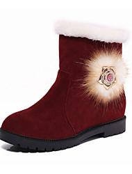 Women's Boots Winter Comfort Suede Outdoor Office & Career Casual Low Heel Applique Pom-pom Black Burgundy