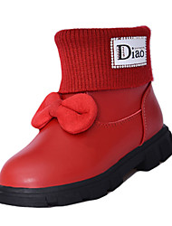 Women's Boots Spring Fall Comfort PU Athletic Flat Heel Bowknot Black Red
