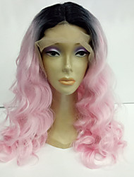 2 Tones Synthetic Lace Front Wig Black Pink Ombre Color Natural Wavy Wigs Top Quality