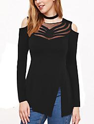 Tee-shirt Femme,Couleur Pleine Décontracté / Quotidien Sexy Automne / Hiver Manches Longues Col Arrondi Bleu / Rose / Rouge / Noir