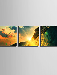 MINI SIZE E-HOME Waves in The Sunset Clock in Canvas 3pcs