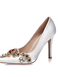 Women's Heels Spring Summer Fall Winter Silk Wedding Dress Party & Evening Stiletto Heel Rhinestone Applique Sparkling GlitterWhite Black