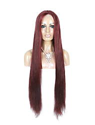 130% Density Peruvian Virgin Hair Lace Front Wig Long Straight Hair 99J Dark Wine Color Human Virgin Hair Lace Wigs For Woman