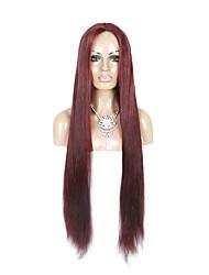 130% la densité de la dentelle de cheveux vierges peruvian avant perruque de longs cheveux raides 99J couleur de vin noir humains vierges
