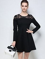 Women's Plus Size Going out Holiday Sexy Cute Sheath Dress,Solid Lace Beaded Round Neck Above Knee Long Sleeve Cotton Black SpringMid