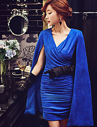 Women's Going out Formal Party/Cocktail Sexy Vintage Sophisticated Bodycon Shift Sheath Cape DressSolid V Neck Above Knee Sleeveless Blue