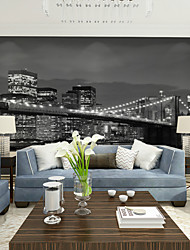 JAMMORY Bedroom living Room Sofa TV Background Wallpaper Retro Black and White City Night Scene Large MuralsXL XXL XXXL