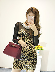 Women's Casual/Daily Sexy Bodycon Dress,Leopard Round Neck Midi Long Sleeve Yellow Silk Winter High Rise Inelastic Medium
