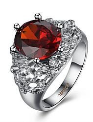Bague Zircon cubique Zircon Cuivre Acier au titane Imitation de diamant Rouge Bijoux Quotidien Décontracté 1pc
