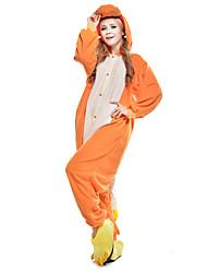 Kigurumi Pijamas Dragão Collant/Pijama Macacão Festival/Celebração Pijamas Animal Amarelo Miscelânea Lã Polar Kigurumi Para UnisexoDia