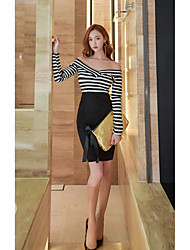 Women's Casual/Daily Simple Bodycon Dress,Solid Striped Strapless Midi Long Sleeve Black Cotton Spring Fall High Rise Micro-elastic Medium