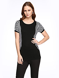 Women's Striped Black Blouse,Round Neck Short Sleeve