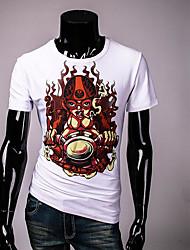 Herren Solide Street Schick Lässig/Alltäglich T-shirt,Rundhalsausschnitt Sommer Kurzarm Weiß Andere Undurchsichtig