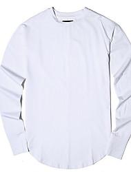 Herren Solide Einfach Lässig/Alltäglich T-shirt,Rundhalsausschnitt Herbst Langarm Weiß Grau Baumwolle Mittel