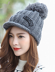 Fashion Winter New Letters Iron Superscript Cap Caps Knitted Hat Winter Ear Warm Wool Hat