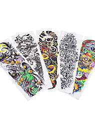 5pcs Pumpkin Lantern Pattern Body Art Temporary Full Arm Flower Tattoo Sticker Holloween Gift