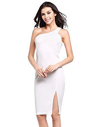Women's Going out / Casual/Daily Simple A Line / Chiffon DressPatchwork Round Neck Above Knee Sleeveless Black