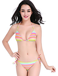 Women's Straped Bikini,Lace Up Floral Nylon Multi-color