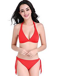 Women's Straped Bikini,Lace Up Geometric Nylon Pink