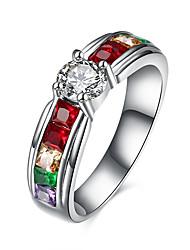 Bague Zircon cubique Acier inoxydable Zircon Acier au titane Imitation de diamant Mode Argent Bijoux Quotidien Décontracté 1pc