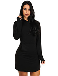 Women's Long Sleeve Hooded Cotton Mini Dress
