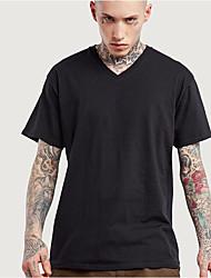 Tee-shirt Hommes,Couleur Pleine Décontracté / Quotidien Chic de Rue Manches Courtes Col en V Multi-couleur Rayonne