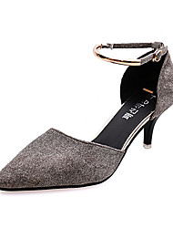 Women's Heels Fall Winter Comfort PU Casual Low Heel Buckle Black Gray Others
