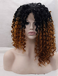 Two Tone Ombre Synthetic Lace Front Wigs Kinky Curly Hair Heat Resistant Synthetic Hair Fiber Wigs For Woman