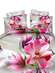 Mingjie 3D Reactive Beautiful Flower Bedding Sets 4 Pcs for Queen Size Contain 1 Duvet Cover 1 Bedsheet 2 Pillowcases from China