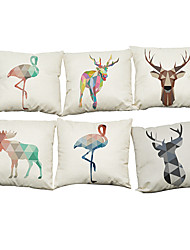 Set of 6 Color geometric animal pattern  Linen Pillowcase Sofa Home Decor Cushion Cover