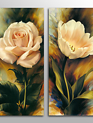 Canvas Print ModernTwo Panels White Rose And Tulip Canvas Vertical Print Wall Decor For Home Decoration