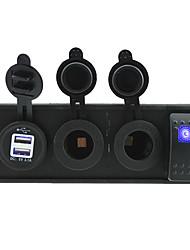 CC 12V / 24V dirigidos tomas de puerto de la energía 3.1a USB con cables de puente de interruptores de balancín y titular de la vivienda