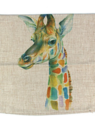 RayLineDo® Linen Cotton Square Throw Pillow Cover Colorful Giraffe Decorative Pillow Case CTJZ21-PC-CG