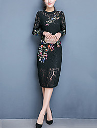 Women's Sexy Lace Embroidered Round Neck Long Sleeve Dress