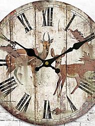 Традиционный Деревенский Ретро Цветы и растения Персонажи Музыка Настенные часы,Круглый Применение Часы