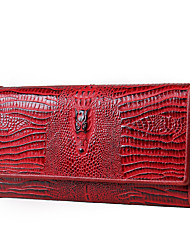 Contacts Women Crocodile Leather Long Wallet Casual Shopping-Checkbook Clutch Zipper Coin Purse Phone Holder