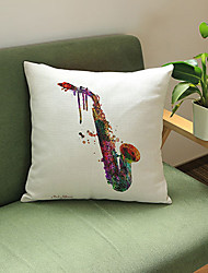 1 pcsPainted saxophone printing Linen Pillow CaseNovelty Modern/Contemporary