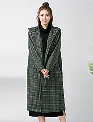 Women's Going out Simple Sophisticated Coat,Print Hooded Long Sleeve Fall Winter Wash inside out Dry flat Wool Regular